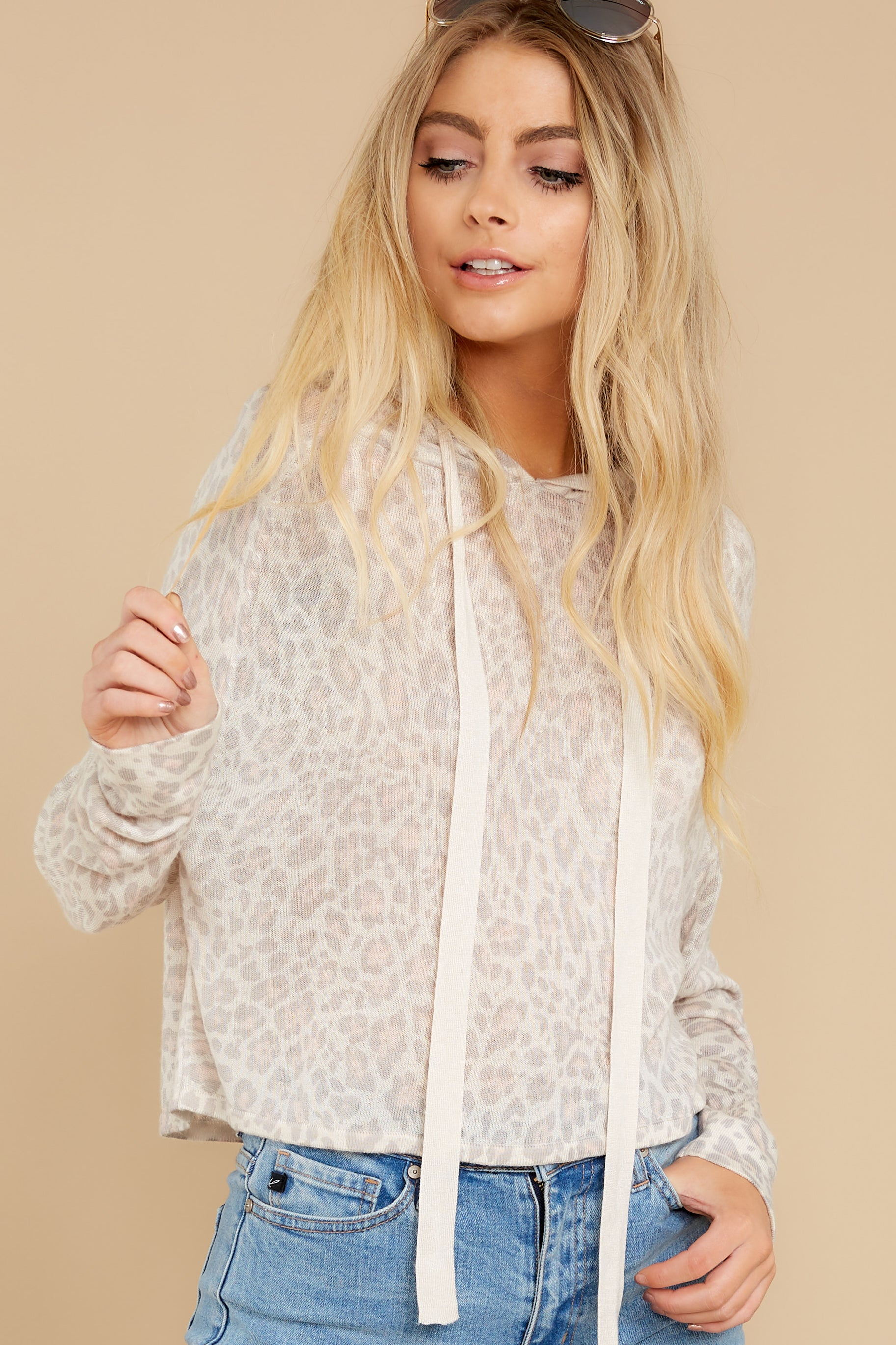 6 Make It Through Blush Leopard Print Crop Hoodie at reddress.com