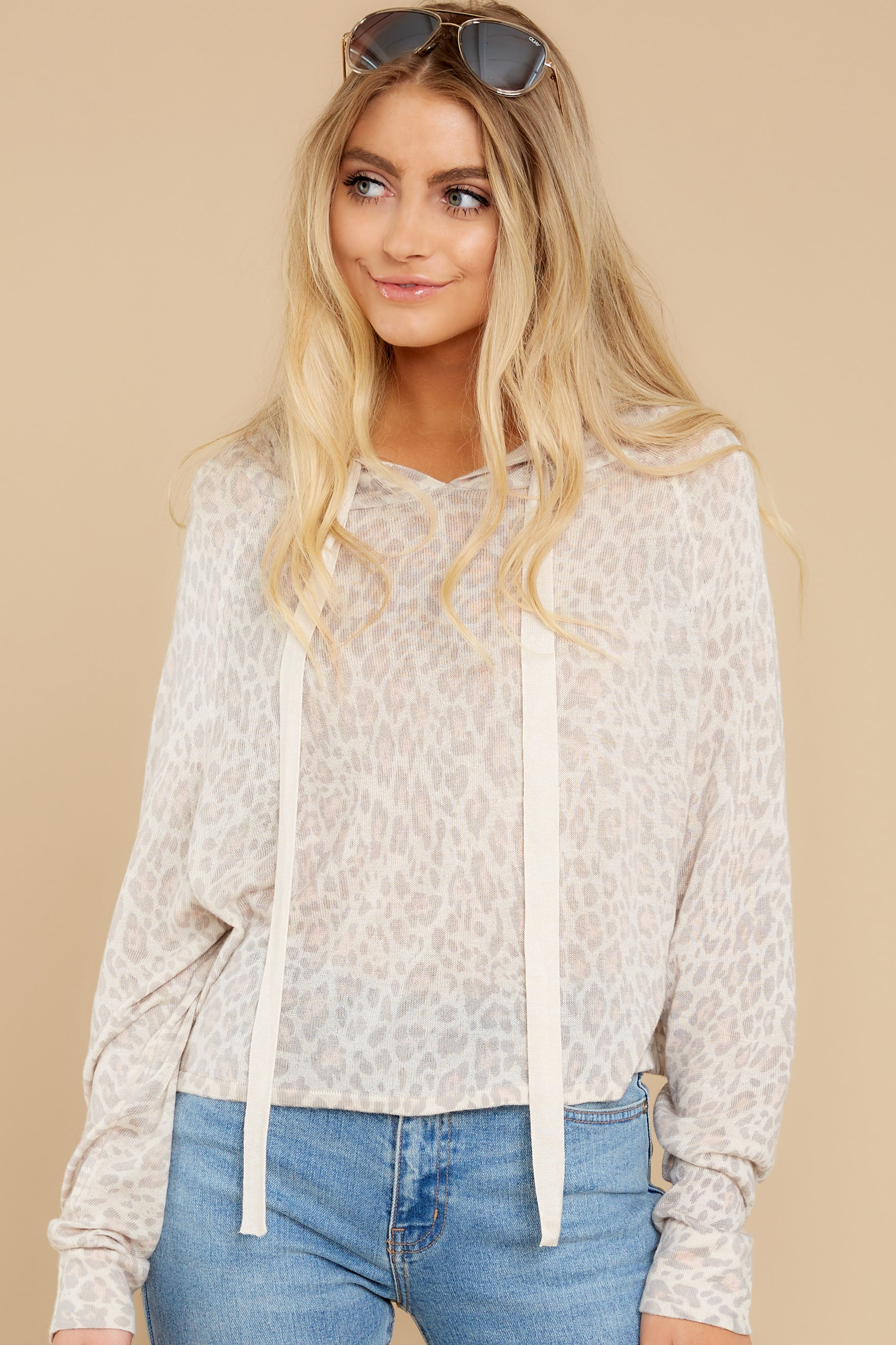 2 Make It Through Blush Leopard Print Crop Hoodie at reddress.com