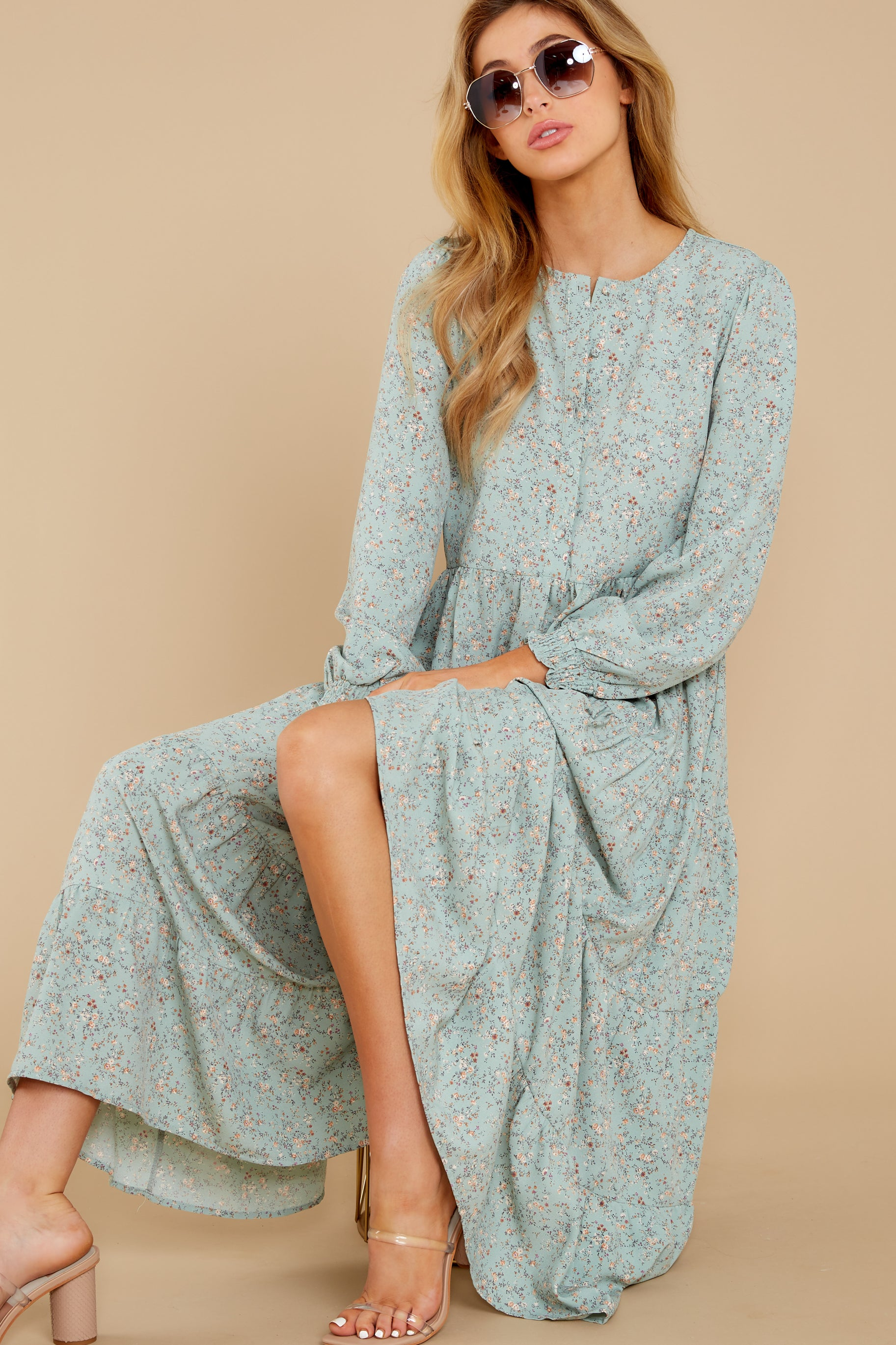In The Air Mint Floral Print Midi Dress