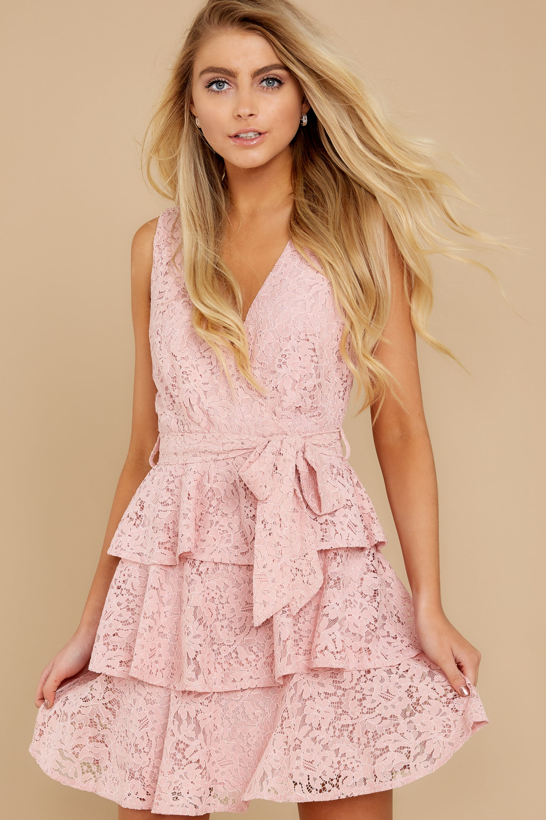 5 Take My Hand Light Pink Lace Dress at reddress.com