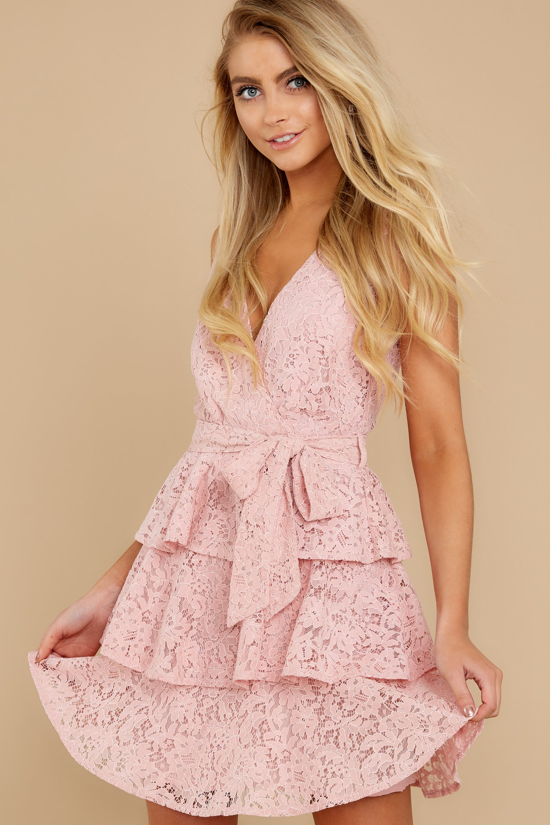 6 Take My Hand Light Pink Lace Dress at reddress.com