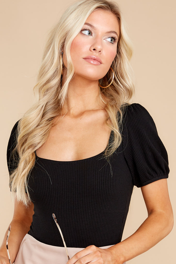 1 Lucy Black Rib Bodysuit at reddress.com