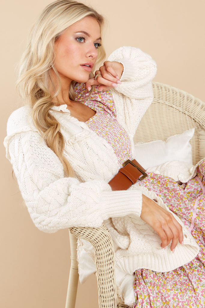 1 Lake Antique White Boyfriend Cardigan at reddress.com