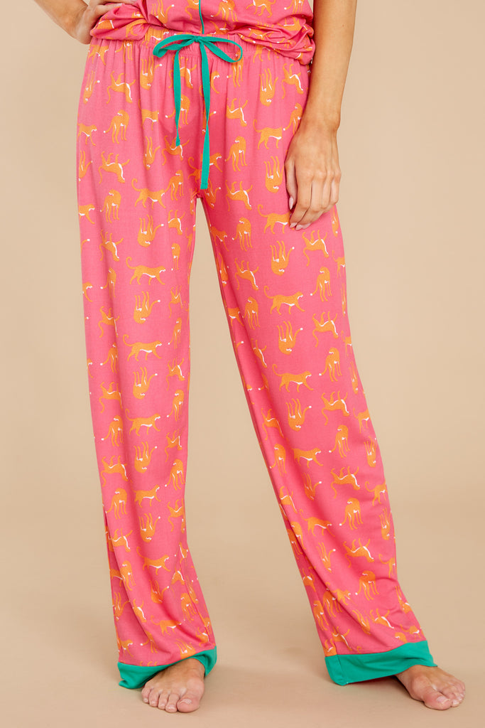 1 Sleeping In Hot Pink Print Pajama Pants at reddress.com