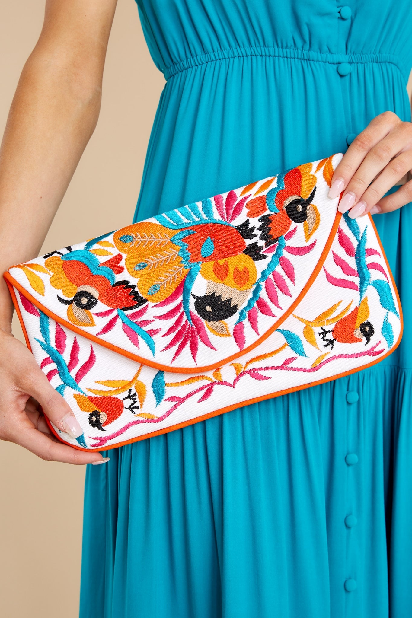 1 Ready To Fly White Multi Embroidered Clutch at reddress.com