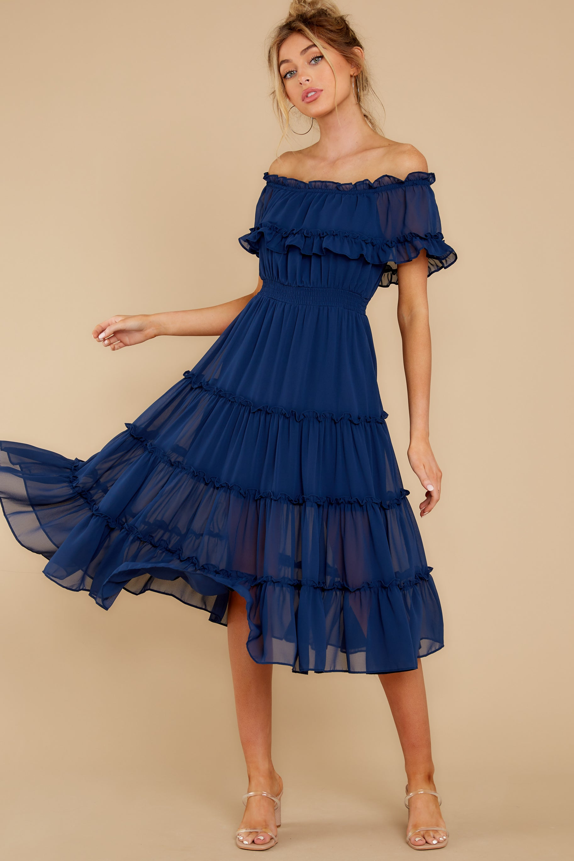 80s Dresses   Casual to Party Dresses As She Goes Navy Blue Off The Shoulder Midi Dress $54.00 AT vintagedancer.com