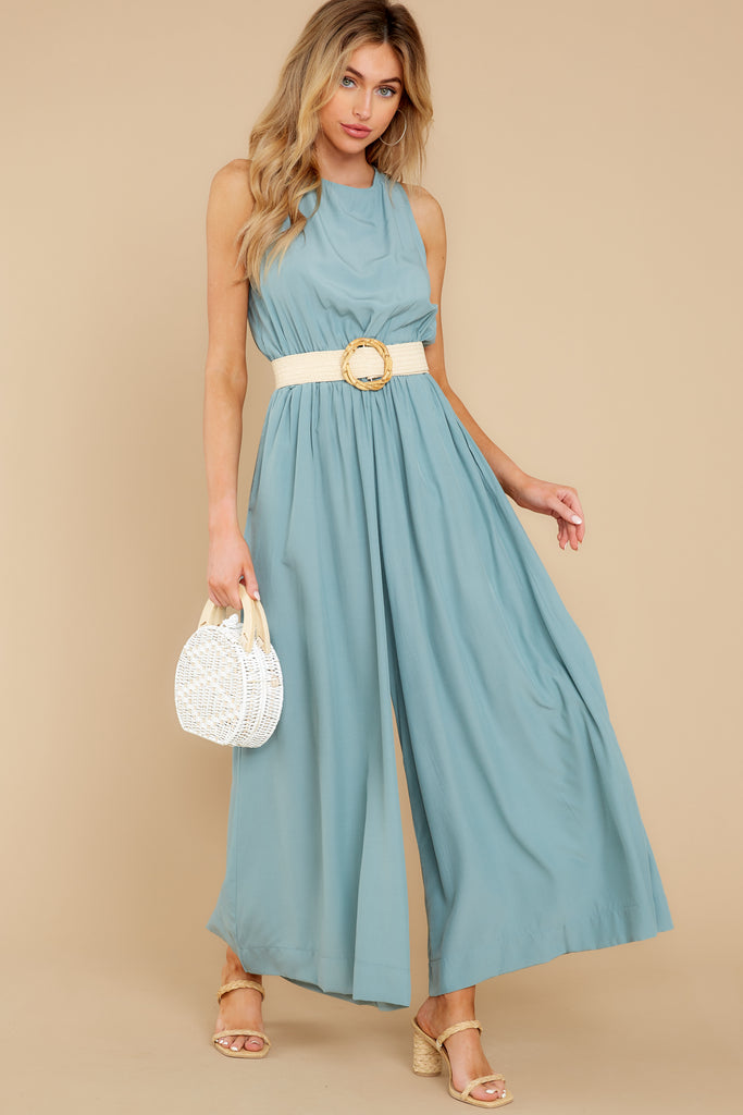 1 Collecting Moments Aqua Pleated Jumpsuit at reddress.com
