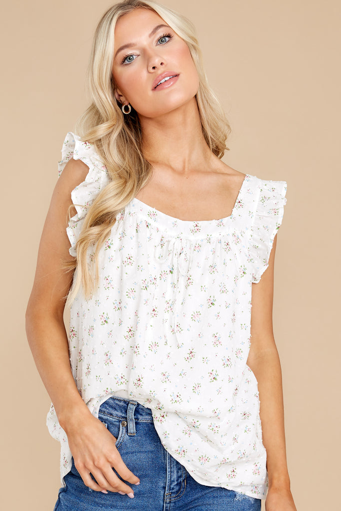 1 Fields Of Love White And Blue Floral Print Crop Top at reddress.com