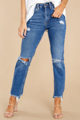 1 You Already Know Medium Wash Distressed Mom Jeans at reddress.com