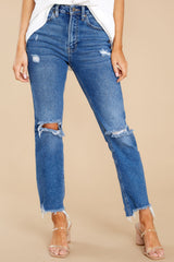 2 You Already Know Medium Wash Distressed Mom Jeans at reddress.com