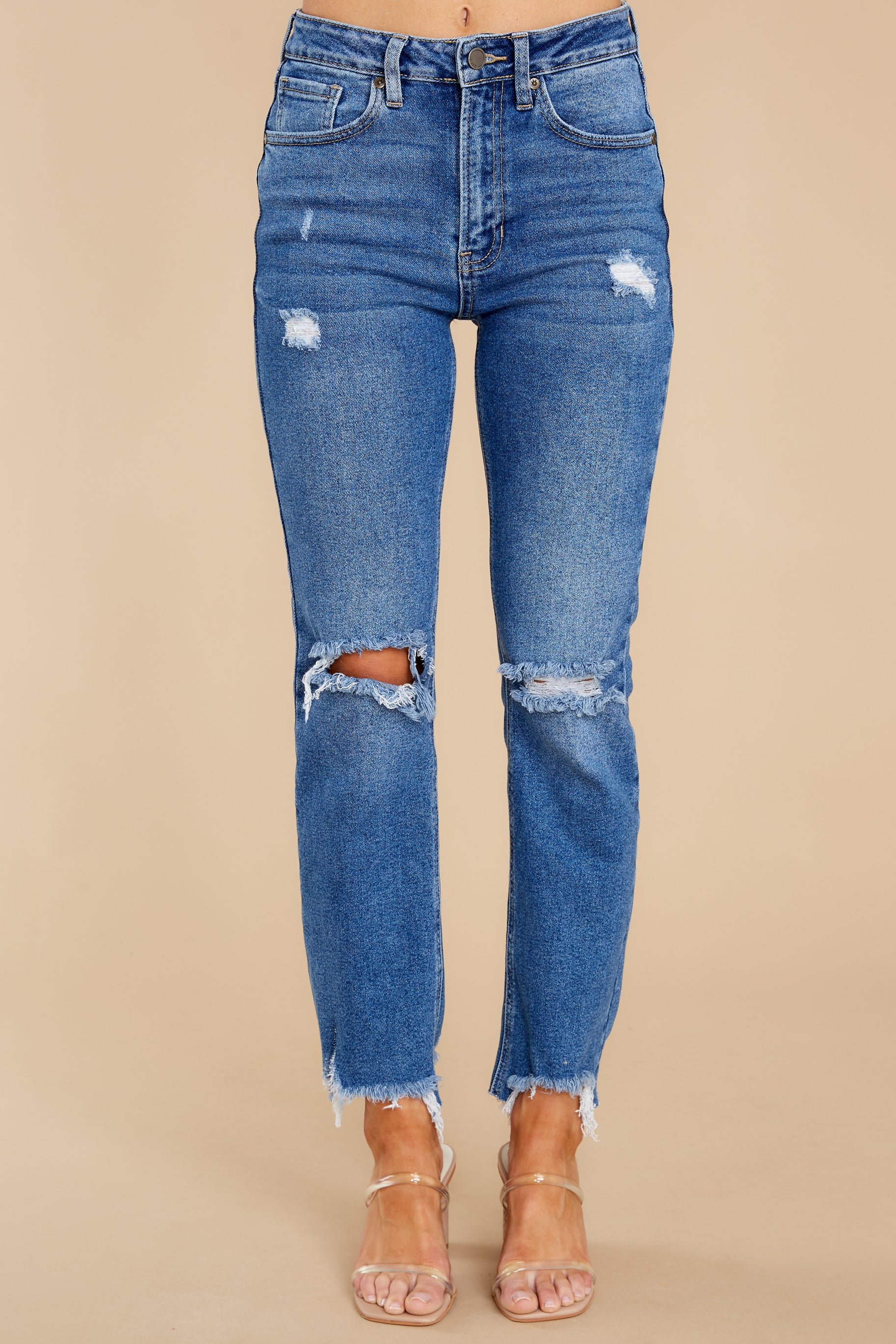 3 You Already Know Medium Wash Distressed Mom Jeans at reddress.com