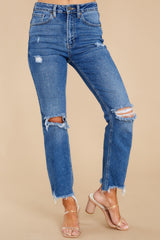 4 You Already Know Medium Wash Distressed Mom Jeans at reddress.com