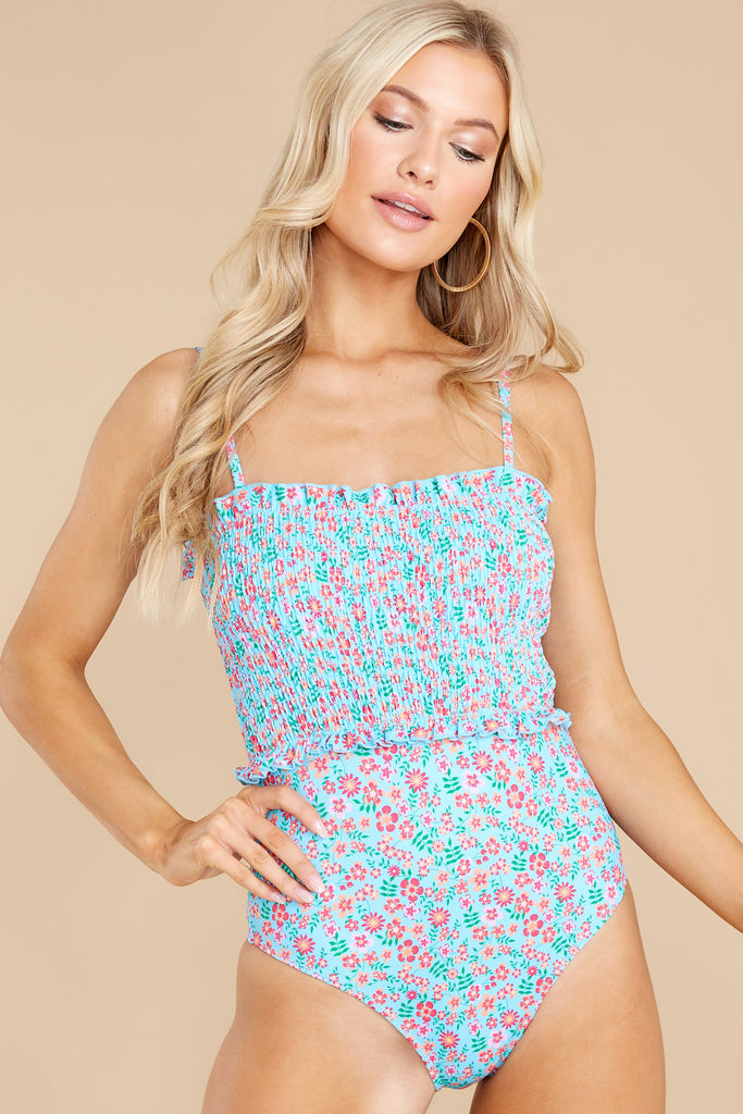 1 Vera Smocked Ditsy Floral One Piece Swimsuit at reddress.com