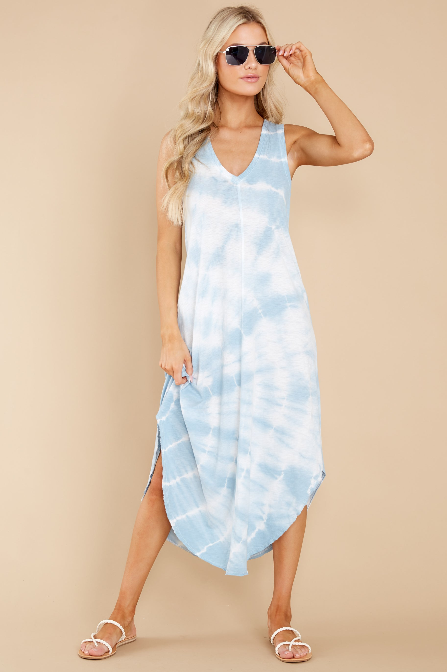 7 Reverie Blue Agave Spiral Tie Dye Dress at reddress.com