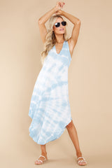 2 Reverie Blue Agave Spiral Tie Dye Dress at reddress.com