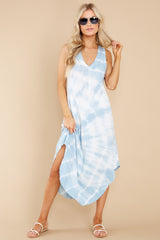 5 Reverie Blue Agave Spiral Tie Dye Dress at reddress.com