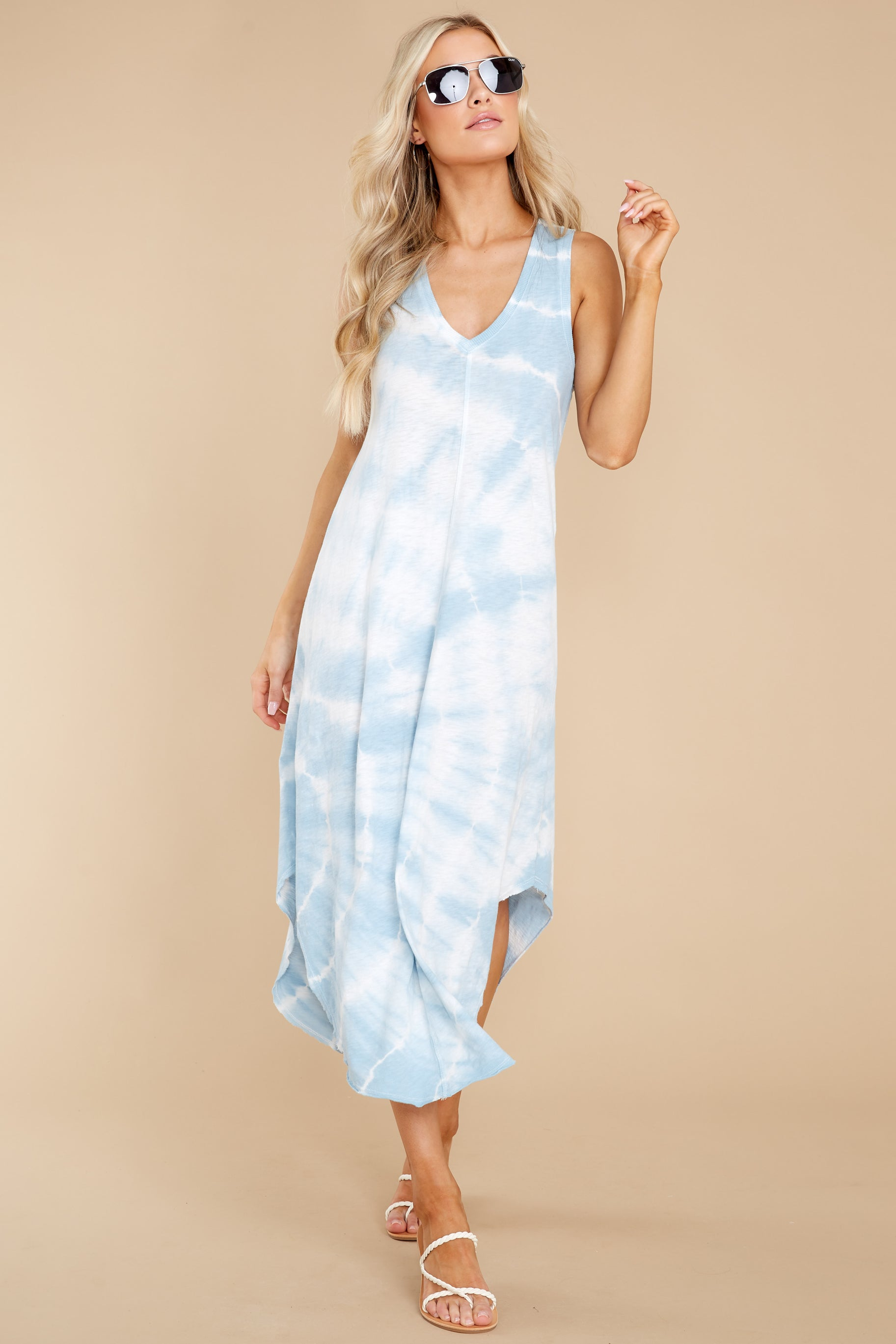 1 Reverie Blue Agave Spiral Tie Dye Dress at reddress.com