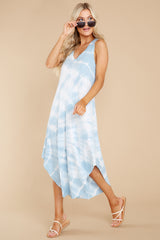 4 Reverie Blue Agave Spiral Tie Dye Dress at reddress.com