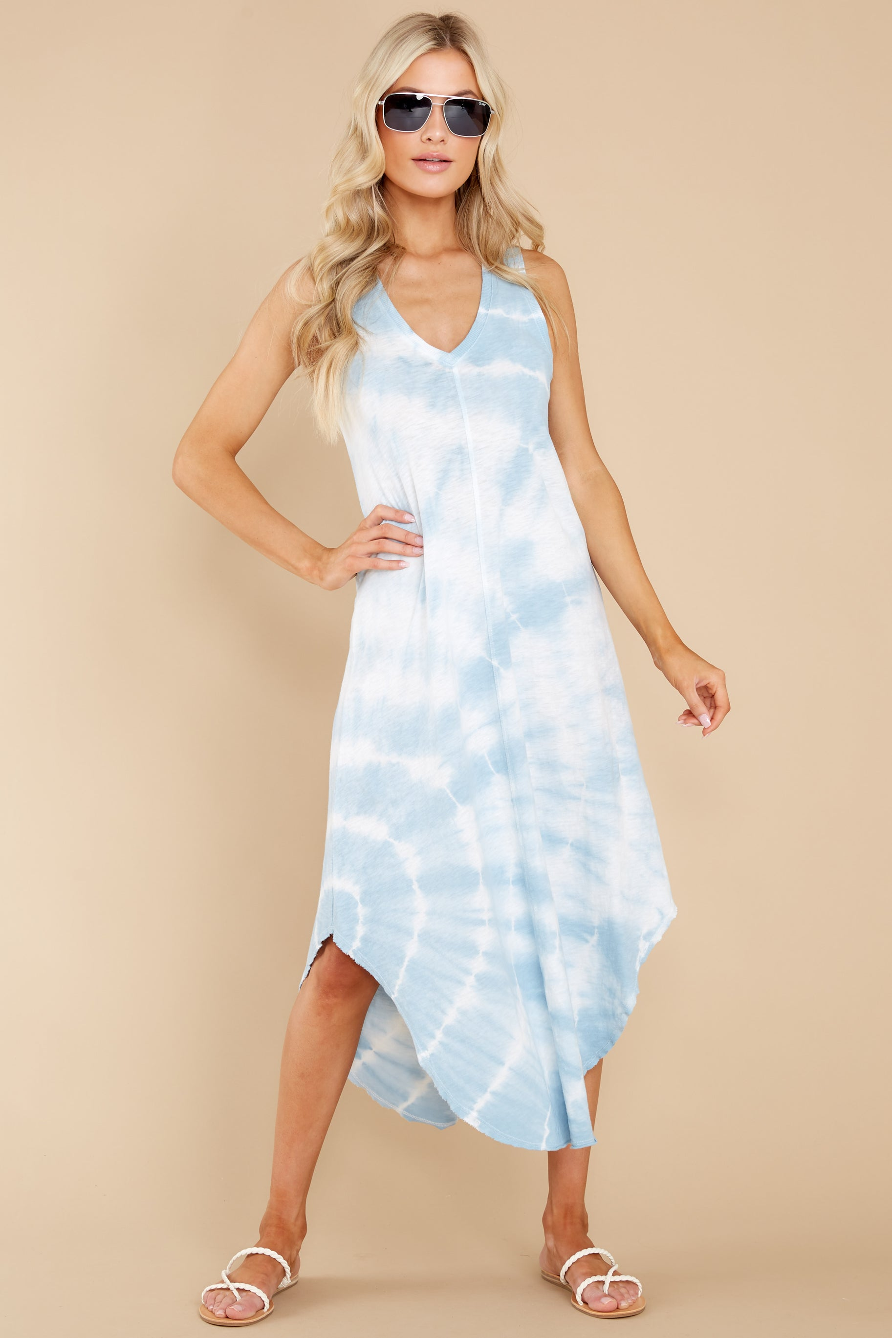 3 Reverie Blue Agave Spiral Tie Dye Dress at reddress.com