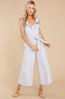 V-neck Striped Print Button Front Tie Waist Waistline Jumpsuit With Ruffles