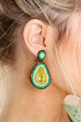 1 Holy Guacamole Green Beaded Earrings at reddress.com