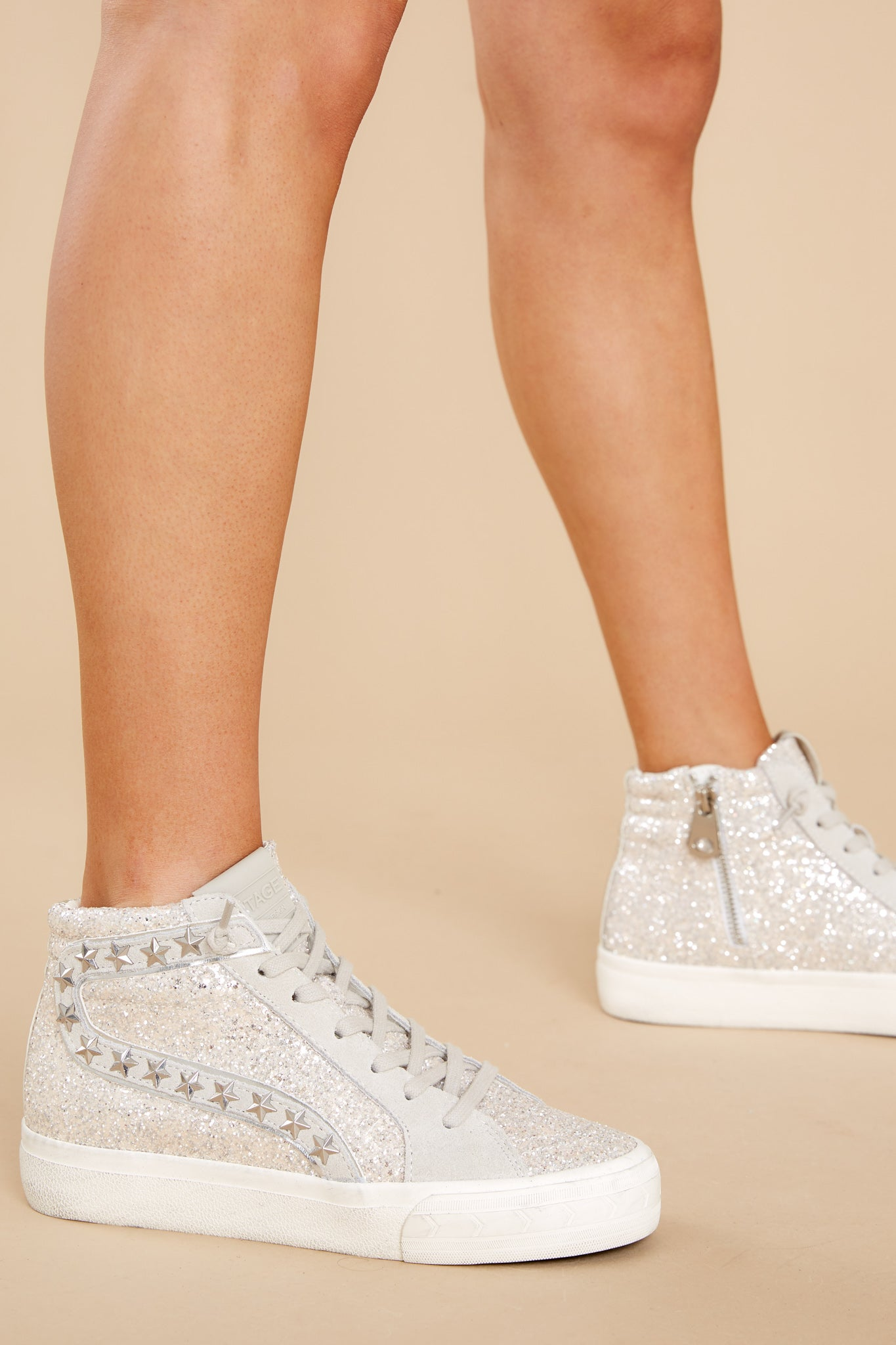 2 Hailey Glitter High Top Sneakers at reddress.com