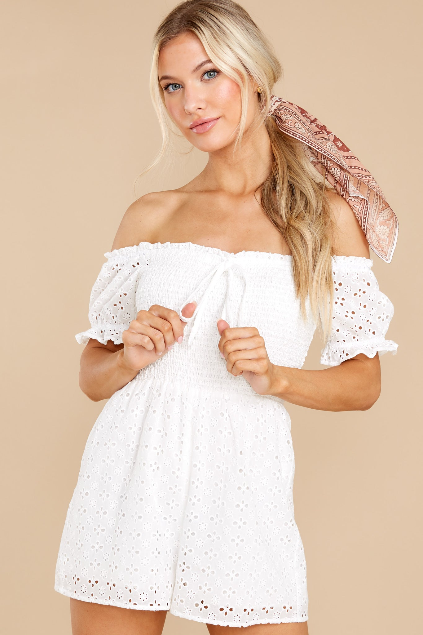 6 Stunning Darling White Eyelet Romper at reddress.com