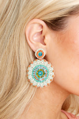 1 Florence Mint And Peach Beaded Earrings at reddress.com