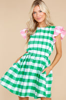 Checkered Gingham Print Keyhole Pocketed Pleated Dress