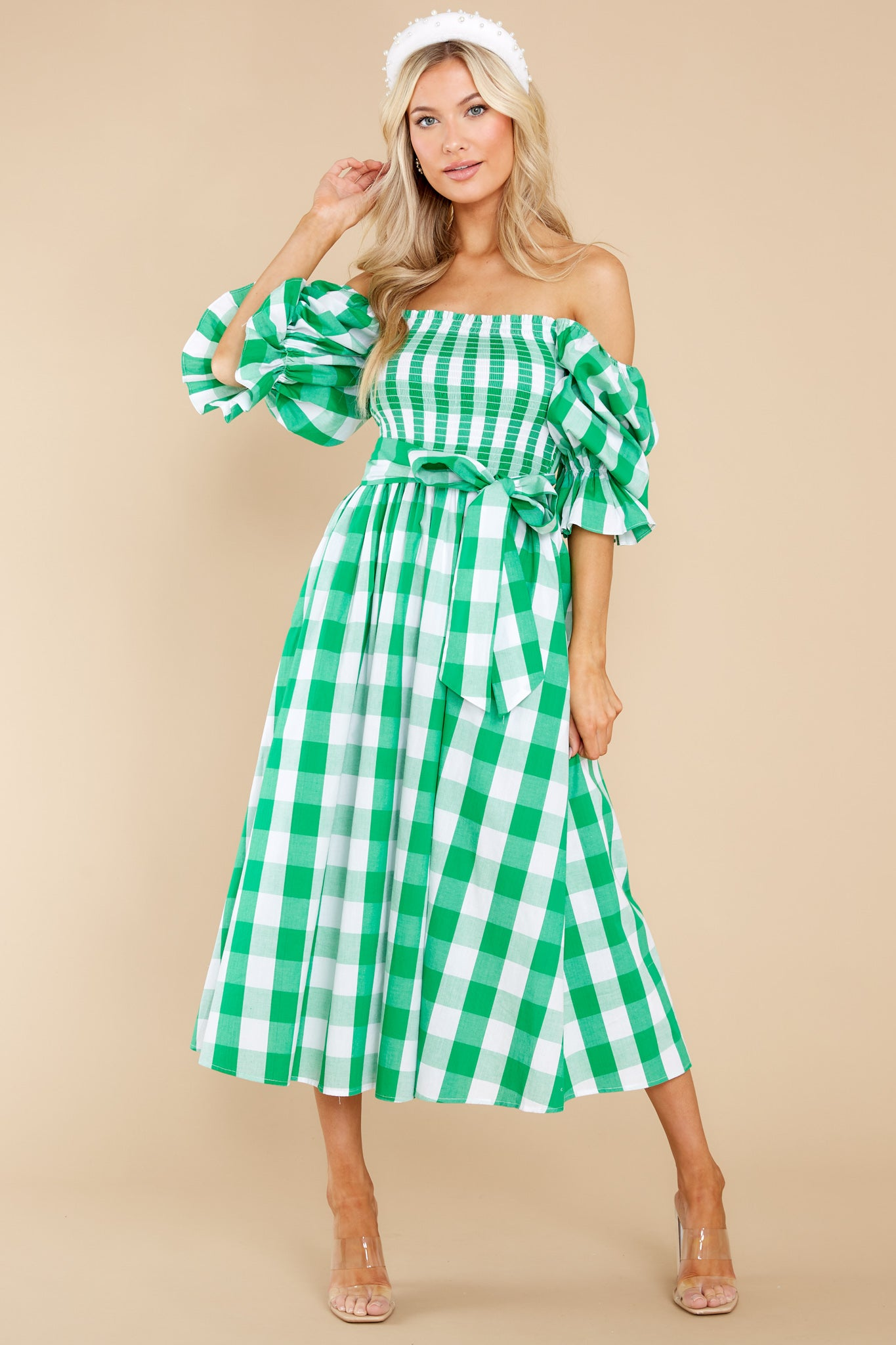 Cottagecore Dresses – Aesthetic, Granny, Vintage Aura Dignity And Grace Green Gingham Midi Dress $64.00 AT vintagedancer.com