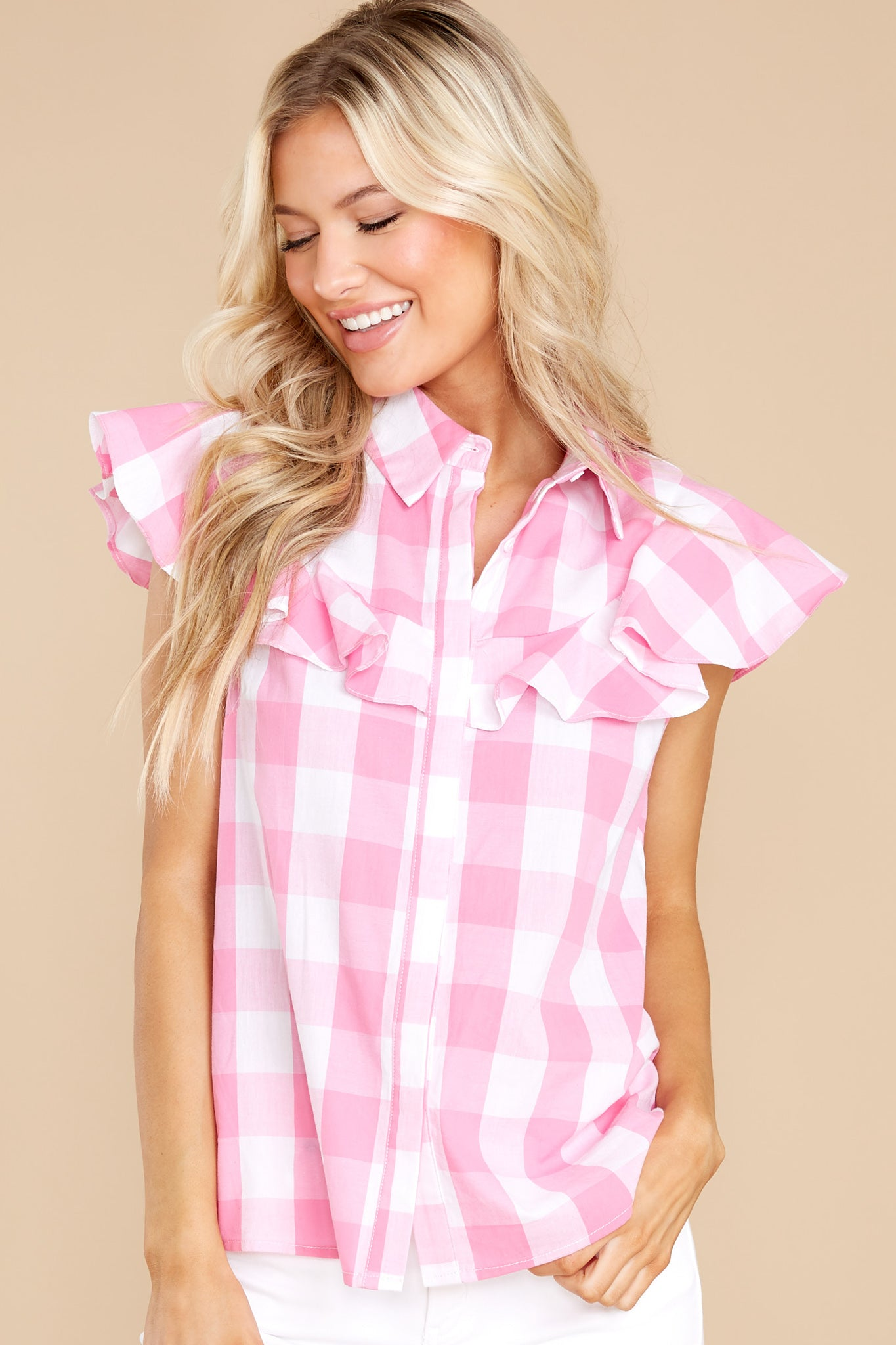 Vintage Western Wear Clothing, Outfit Ideas Aura See You Later Pink Gingham Button Up Top $38.00 AT vintagedancer.com