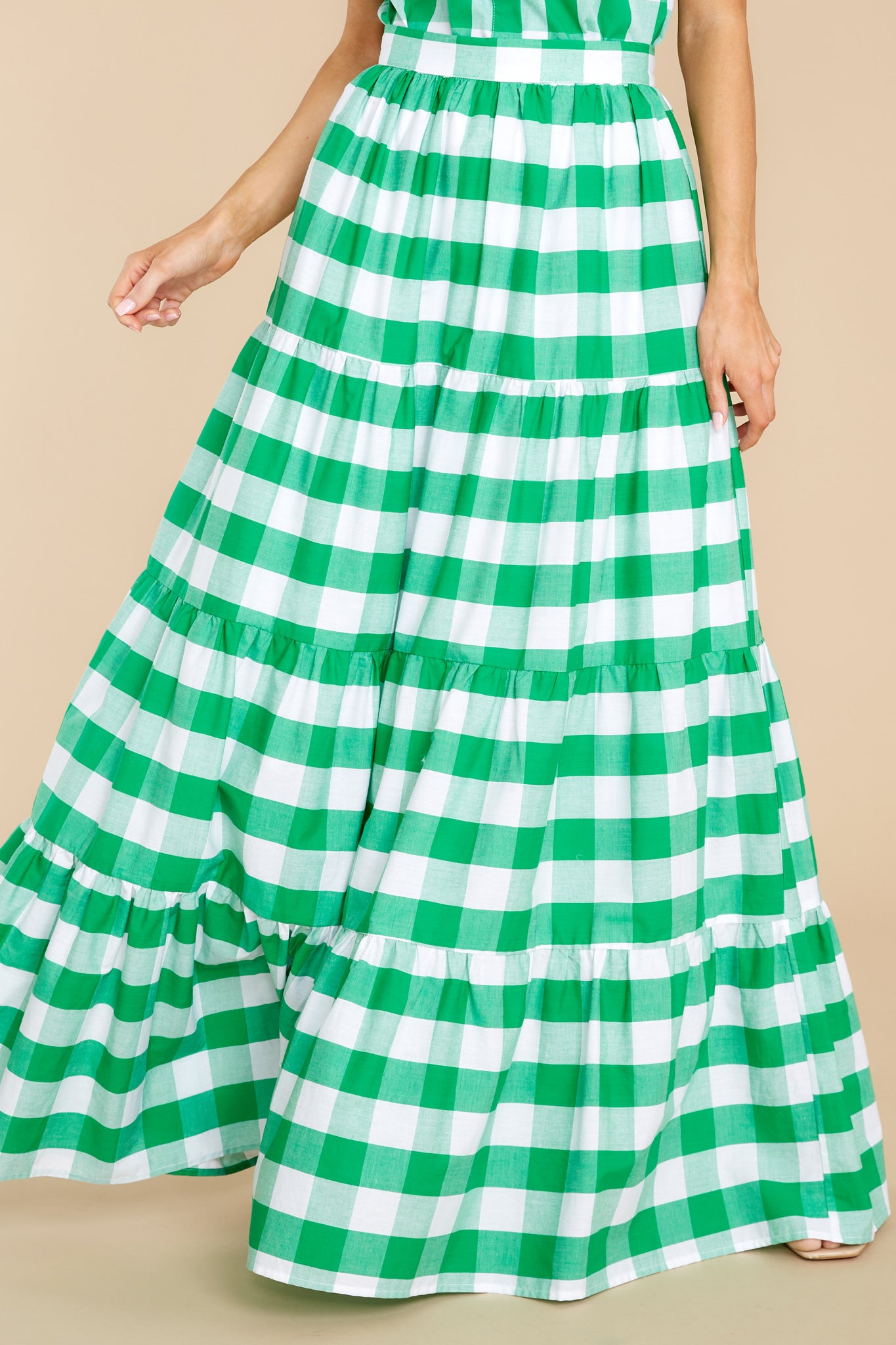 Vintage Skirts | Retro, Pencil, Swing, Boho Aura Too Much To Say Green Gingham Skirt $48.00 AT vintagedancer.com