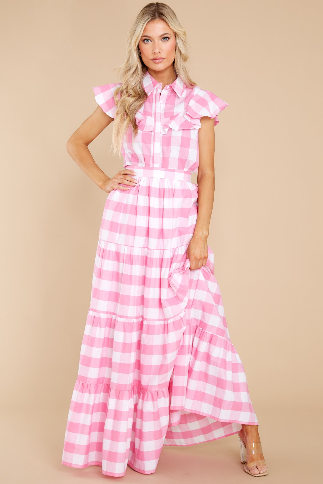 Cottagecore Dresses – Aesthetic, Granny, Vintage Aura See You Later Pink Gingham Button Up Top $38.00 AT vintagedancer.com