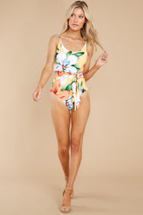 4 Sunshine Sweetheart Yellow Floral Print One Piece Swimsuit at reddress.com