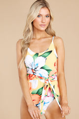 5 Sunshine Sweetheart Yellow Floral Print One Piece Swimsuit at reddress.com