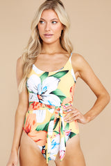 6 Sunshine Sweetheart Yellow Floral Print One Piece Swimsuit at reddress.com