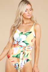1 Sunshine Sweetheart Yellow Floral Print One Piece Swimsuit at reddress.com
