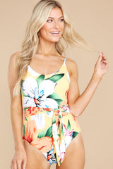 7 Sunshine Sweetheart Yellow Floral Print One Piece Swimsuit at reddress.com