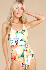8 Sunshine Sweetheart Yellow Floral Print One Piece Swimsuit at reddress.com