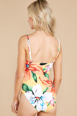 10 Sunshine Sweetheart Yellow Floral Print One Piece Swimsuit at reddress.com