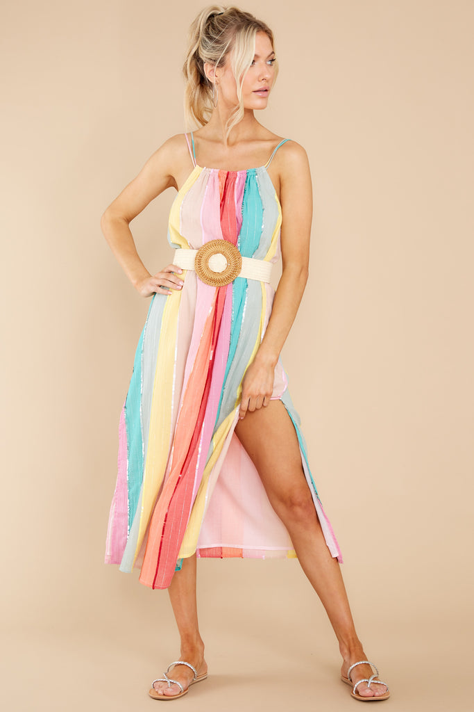 1 Kiara Multicolor Stripes And Sequins Dress at reddress.com