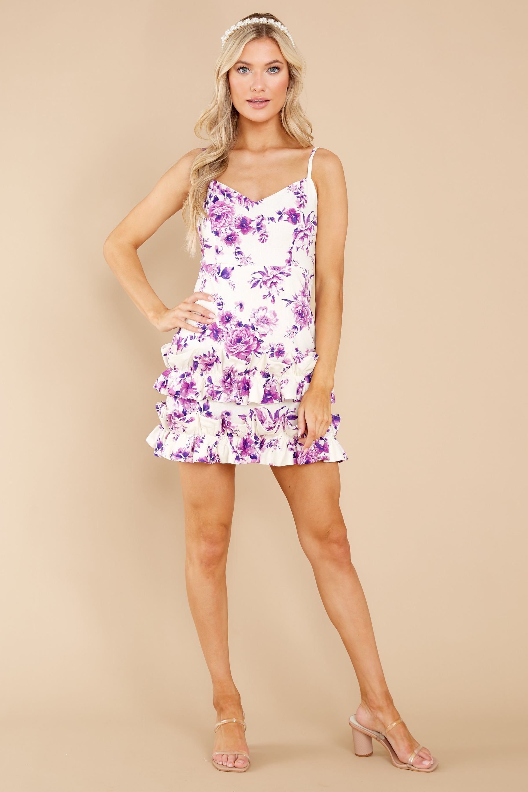 3 In Blossom White And Purple Floral Print Dress at reddress.com