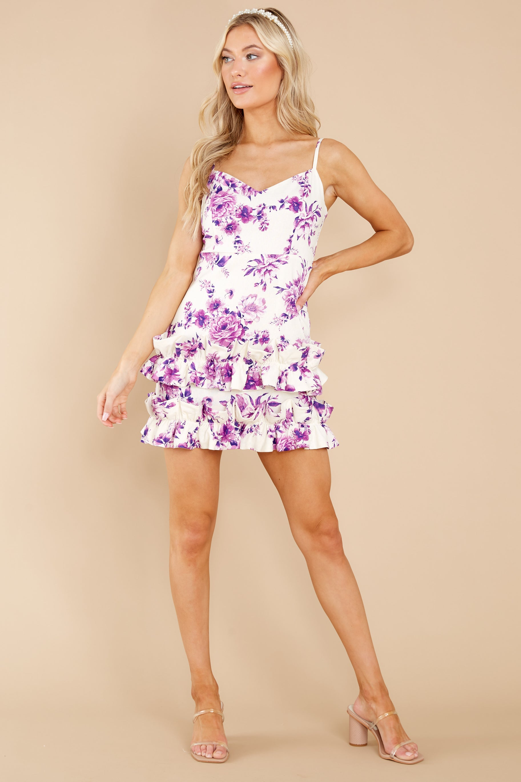 4 In Blossom White And Purple Floral Print Dress at reddress.com
