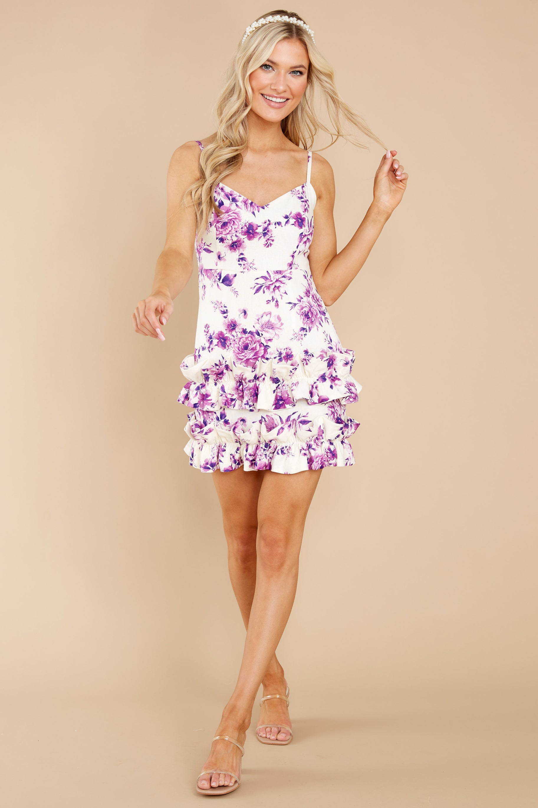 2 In Blossom White And Purple Floral Print Dress at reddress.com