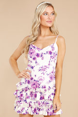1 In Blossom White And Purple Floral Print Dress at reddress.com