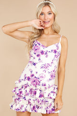 5 In Blossom White And Purple Floral Print Dress at reddress.com