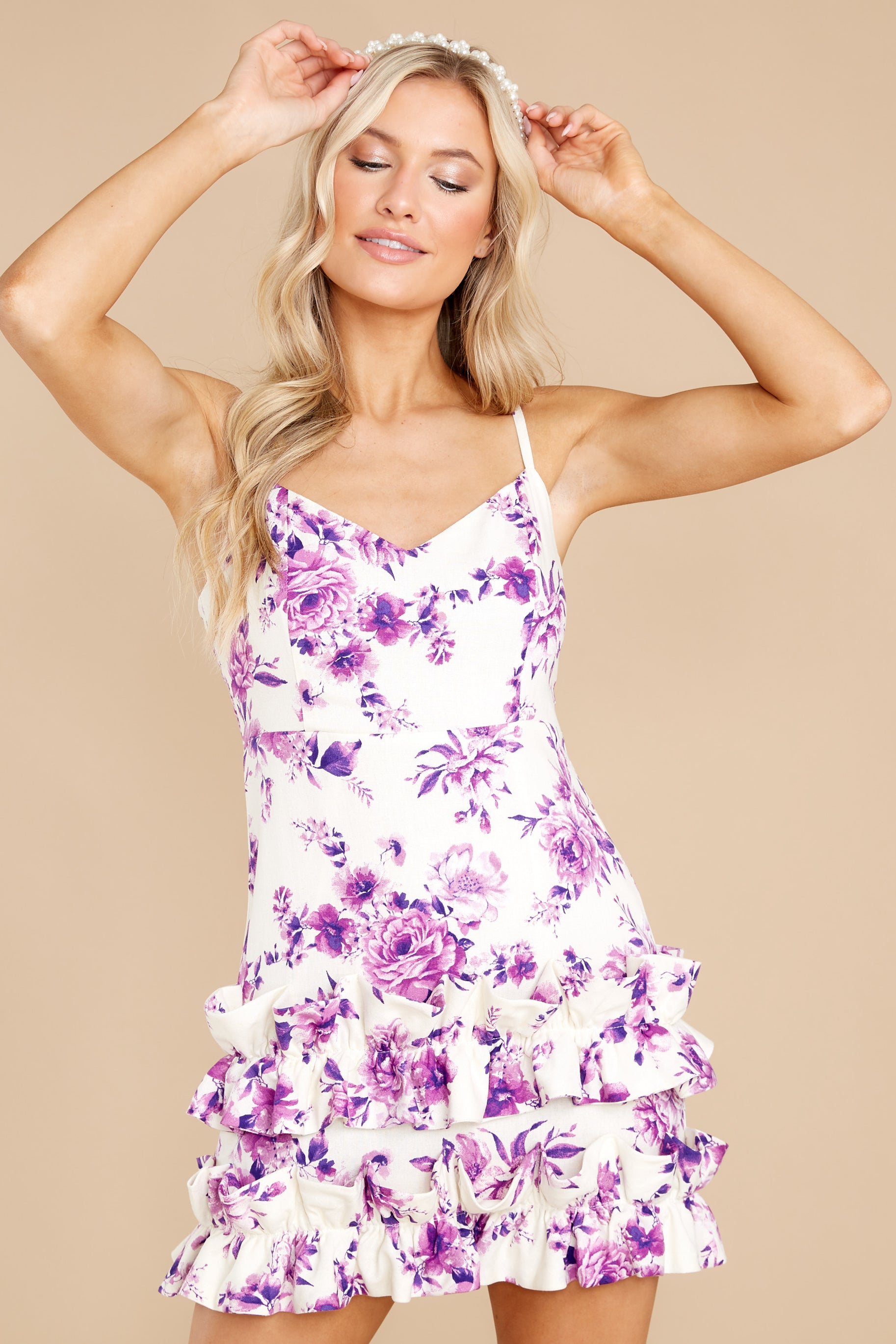 6 In Blossom White And Purple Floral Print Dress at reddress.com