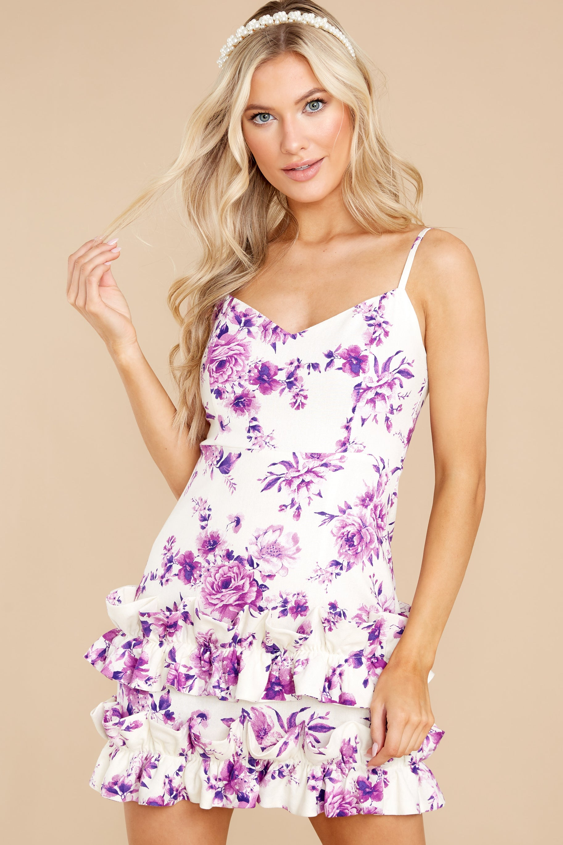 7 In Blossom White And Purple Floral Print Dress at reddress.com