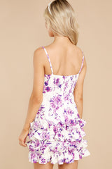 8 In Blossom White And Purple Floral Print Dress at reddress.com