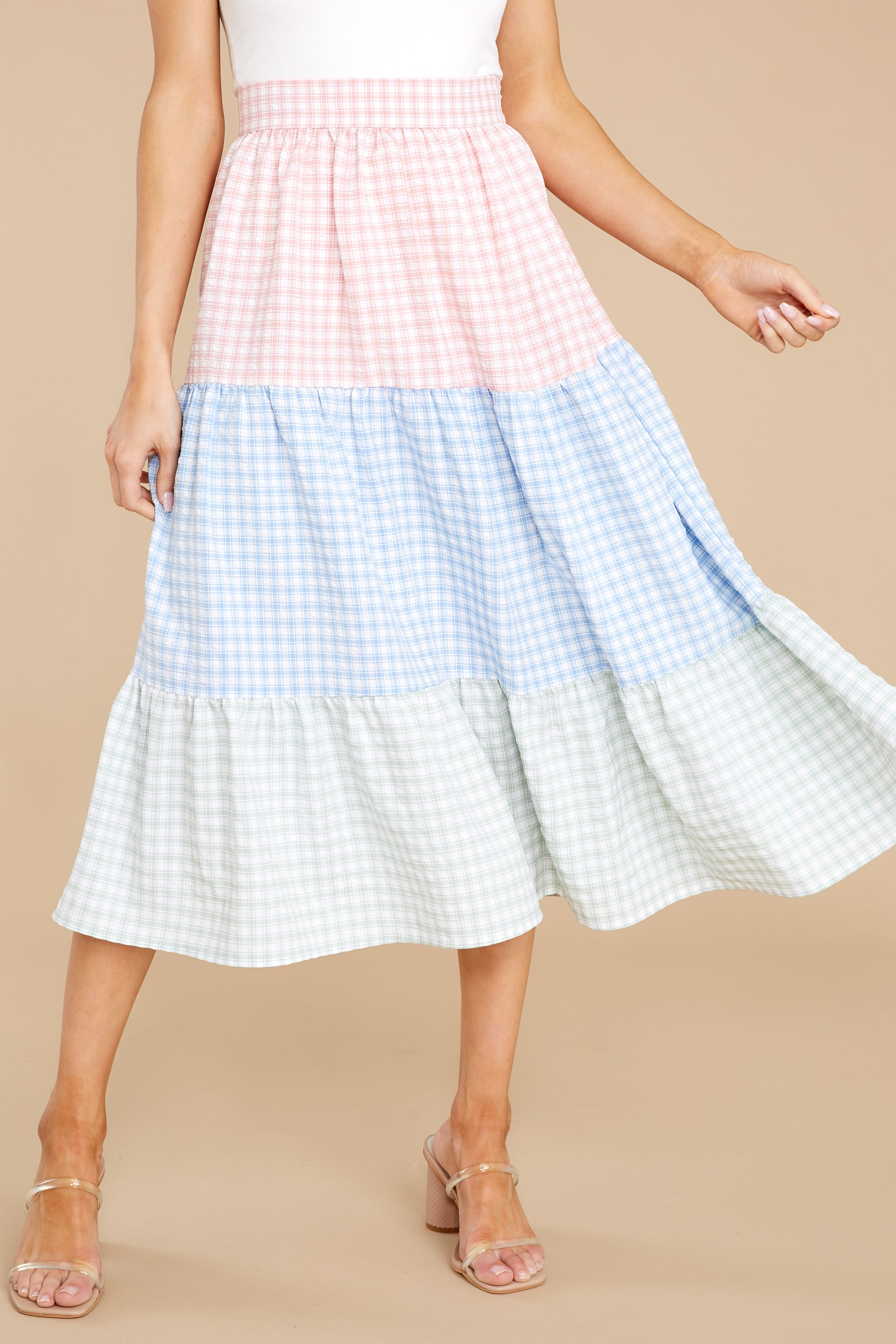 70s Clothes | Hippie Clothes & Outfits Collect Flowers Pink Multi Gingham Skirt $38.00 AT vintagedancer.com